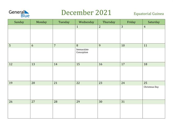 December 2021 Calendar with Equatorial Guinea Holidays