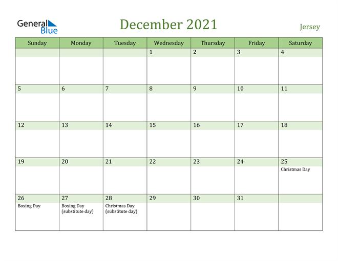 December 2021 Calendar with Jersey Holidays