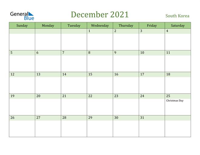 December 2021 Calendar with South Korea Holidays
