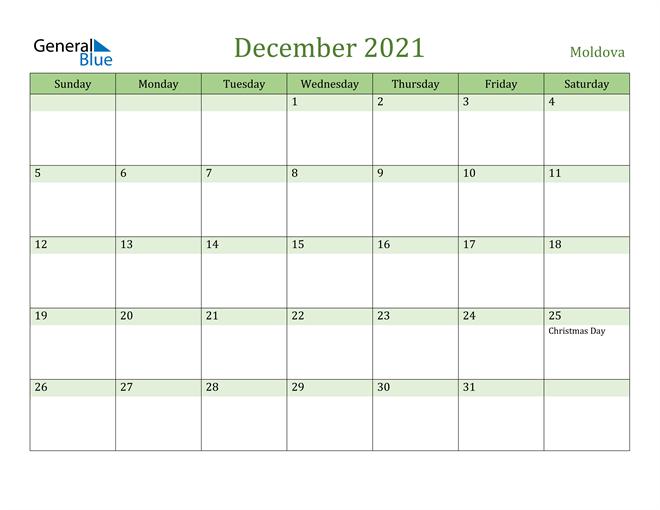 December 2021 Calendar with Moldova Holidays