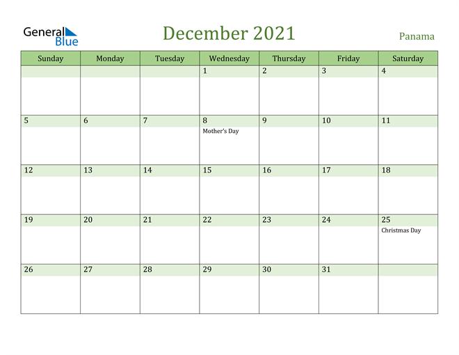 December 2021 Calendar with Panama Holidays