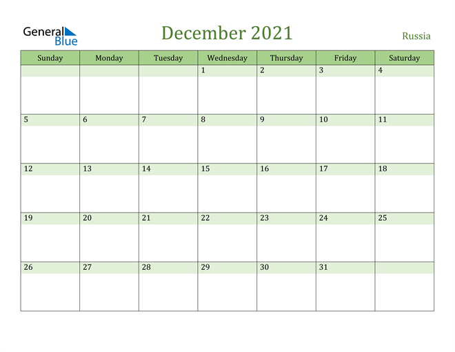 December 2021 Calendar with Russia Holidays