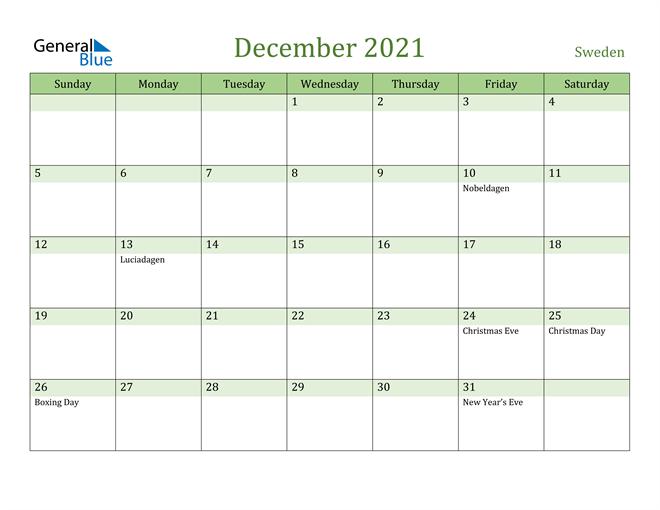 December 2021 Calendar with Sweden Holidays