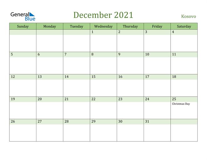 December 2021 Calendar with Kosovo Holidays