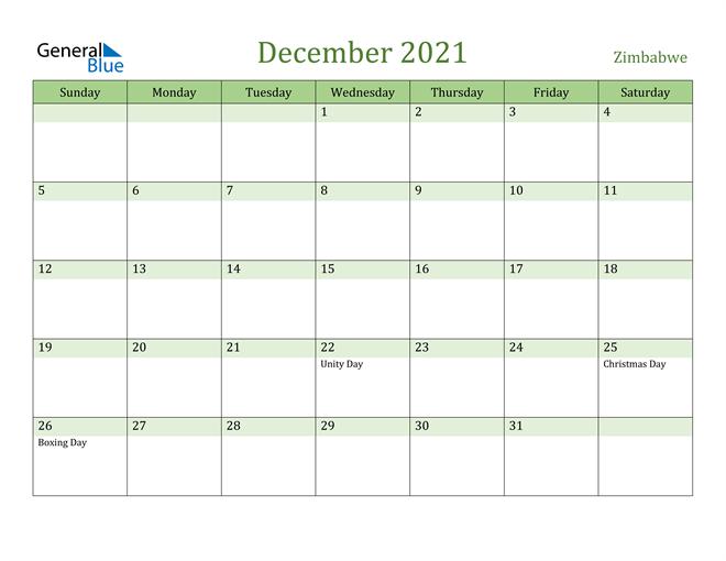 December 2021 Calendar with Zimbabwe Holidays
