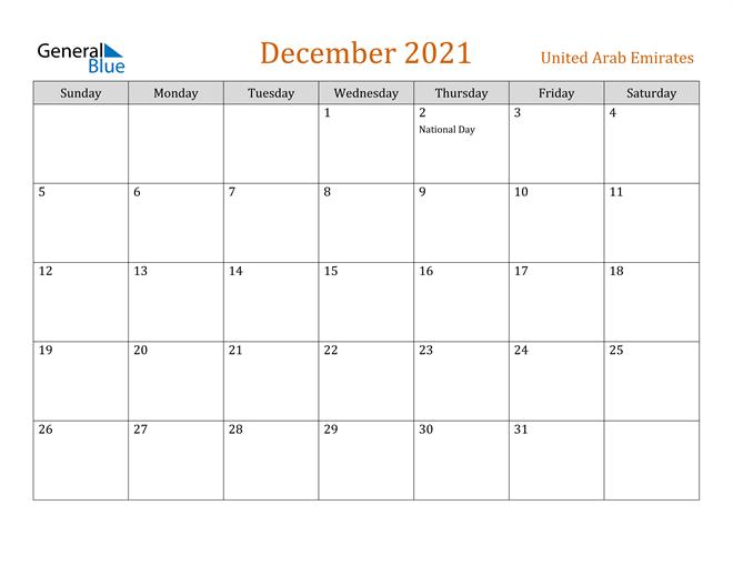 Image of December 2021 Contemporary Orange PDF, Word and Excel Calendar Calendar