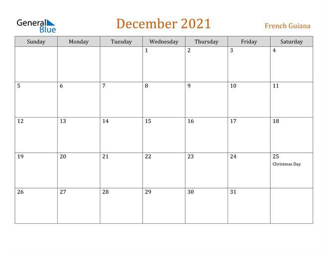 December 2021 Holiday Calendar