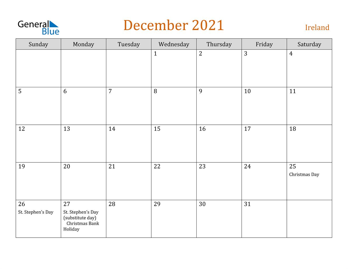 December 2021 Calendar - Ireland