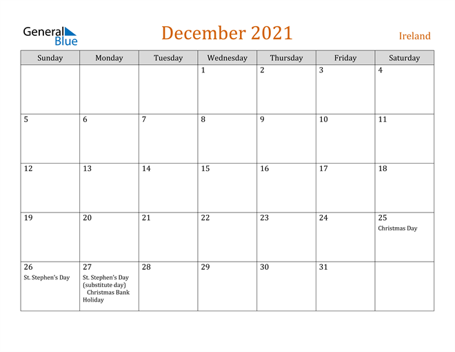 Image of December 2021 Contemporary Orange PDF, Word and Excel Calendar Calendar