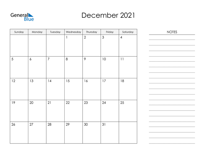 Printable Monthly Calendar with Notes