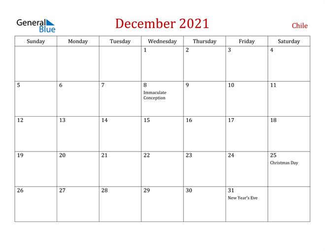 Chile December 2021 Calendar
