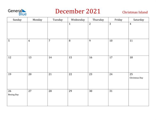Christmas Island December 2021 Calendar