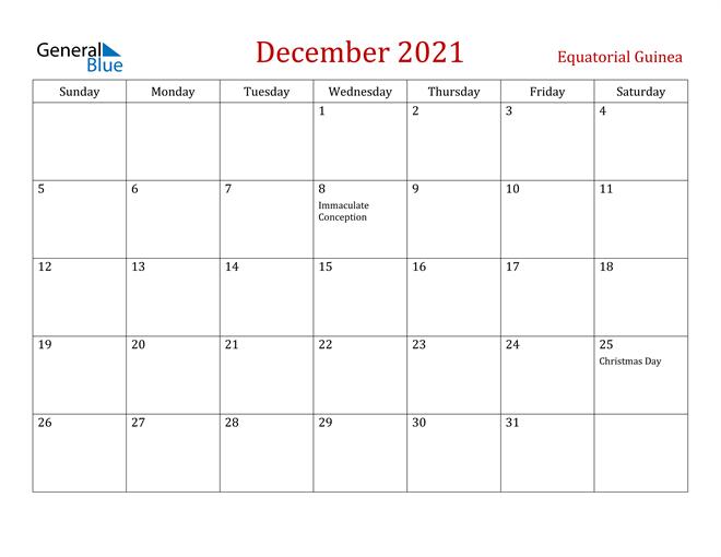 Equatorial Guinea December 2021 Calendar