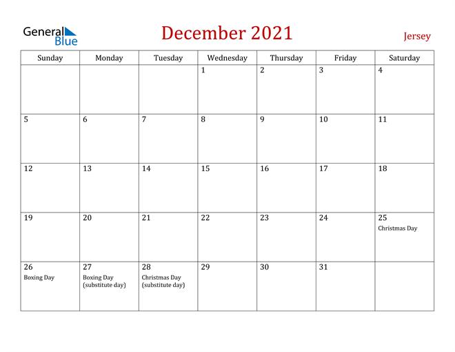 Jersey December 2021 Calendar
