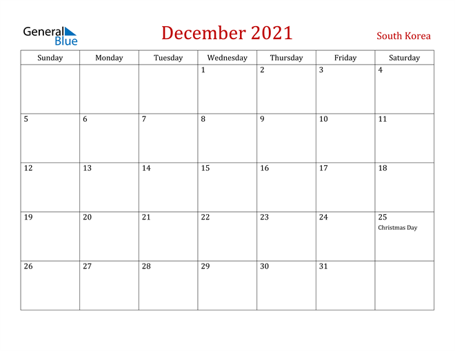 South Korea December 2021 Calendar