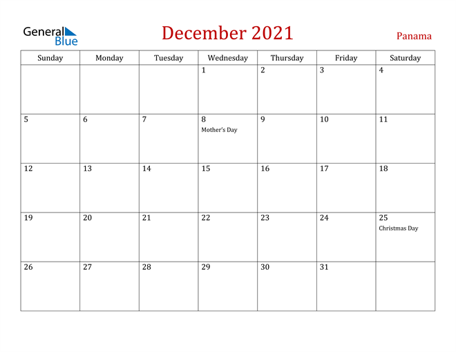 Panama December 2021 Calendar