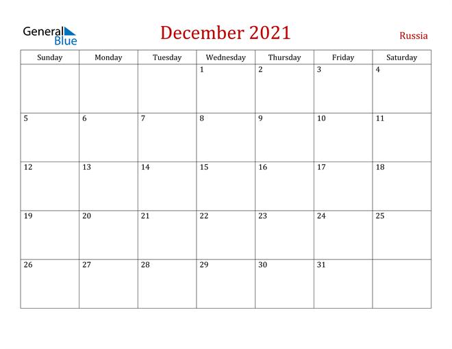 Russia December 2021 Calendar