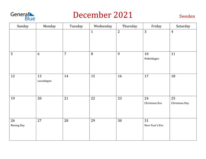 Sweden December 2021 Calendar