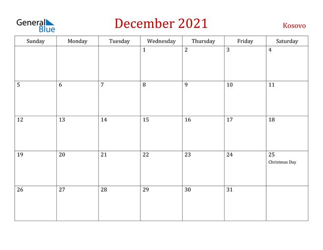 Kosovo December 2021 Calendar
