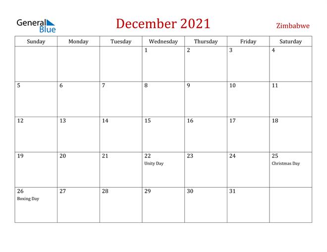 Zimbabwe December 2021 Calendar