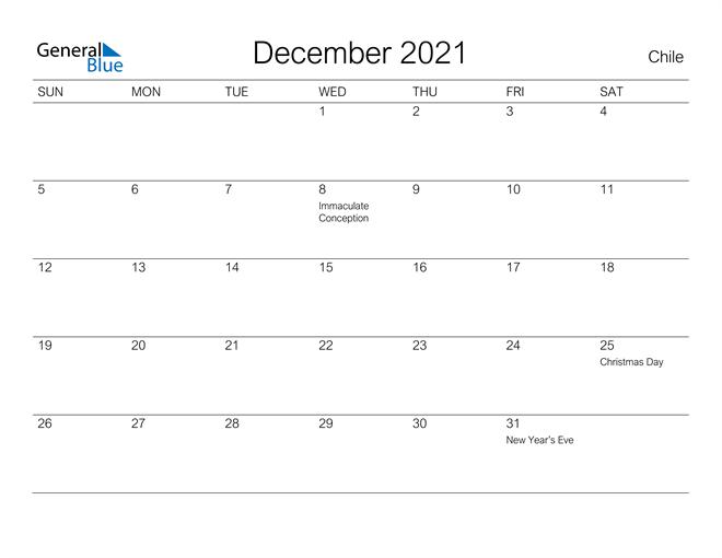 Printable December 2021 Calendar for Chile