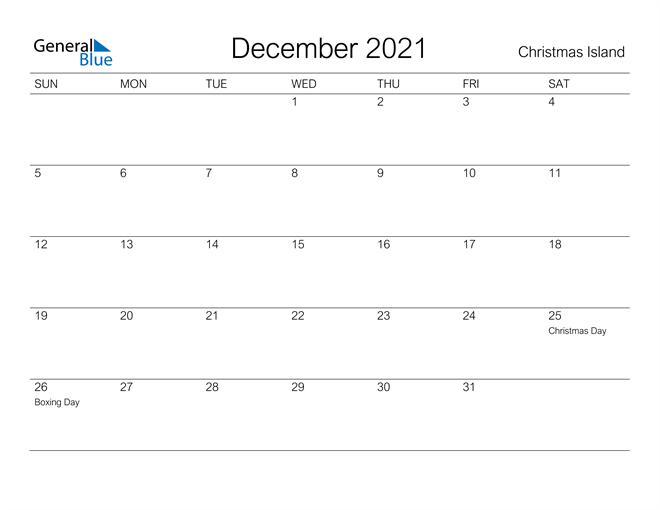 Printable December 2021 Calendar for Christmas Island