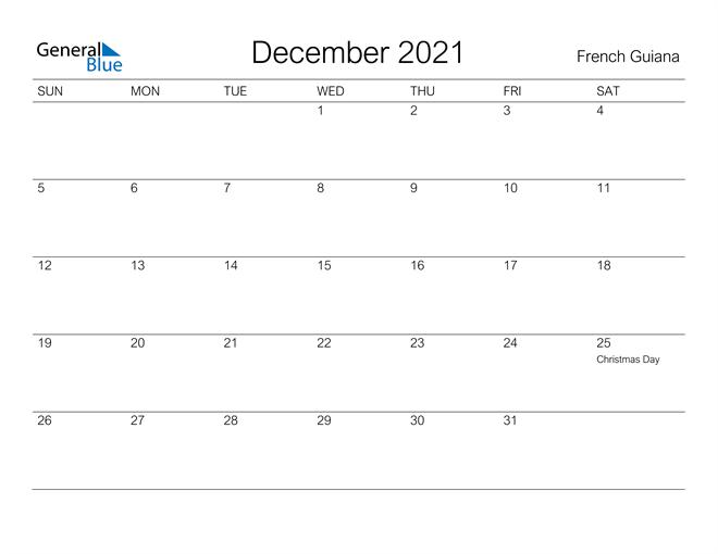 Printable December 2021 Calendar for French Guiana
