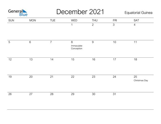 Printable December 2021 Calendar for Equatorial Guinea