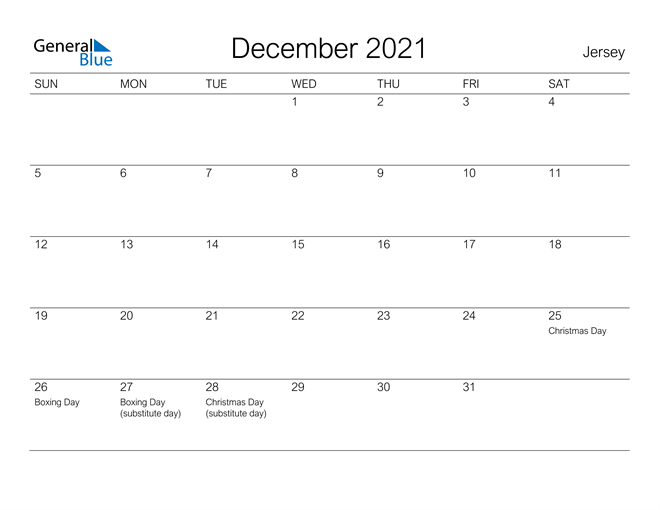 Printable December 2021 Calendar for Jersey