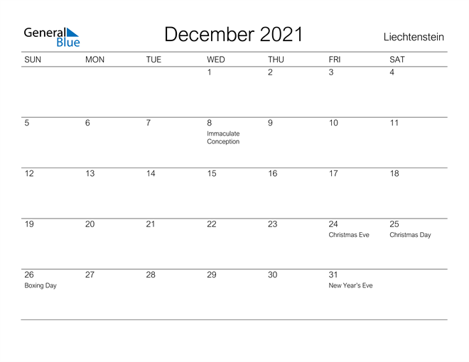 Image of December 2021 A Streamlined Design, The Perfect Printable Calendar. Calendar