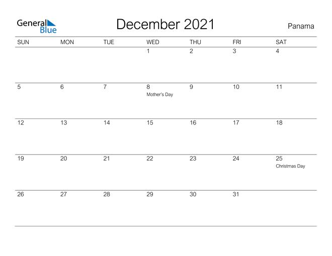 Printable December 2021 Calendar for Panama