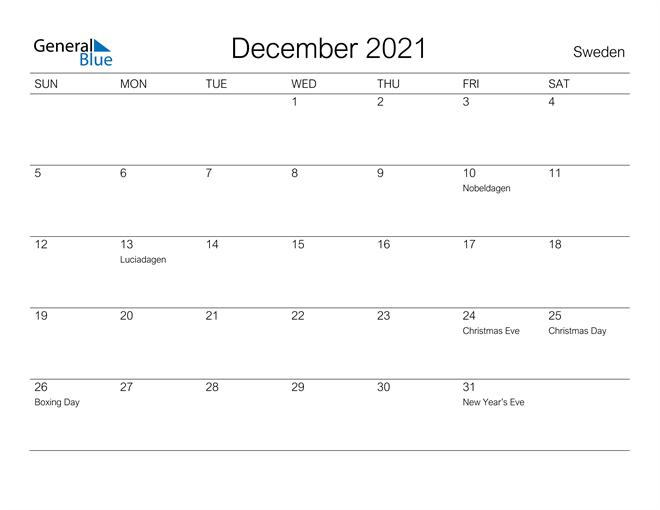 Printable December 2021 Calendar for Sweden