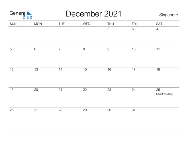 Printable December 2021 Calendar for Singapore