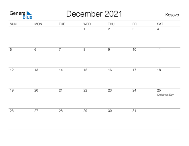 Printable December 2021 Calendar for Kosovo