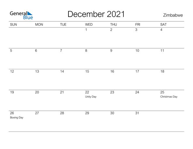 Printable December 2021 Calendar for Zimbabwe