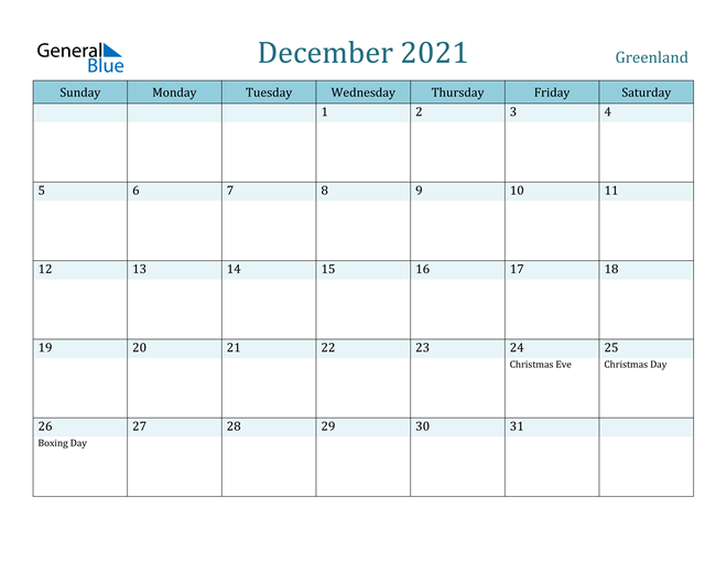 Image of December 2021 Colorful Turquoise Calendar in PDF, Word and Excel Calendar