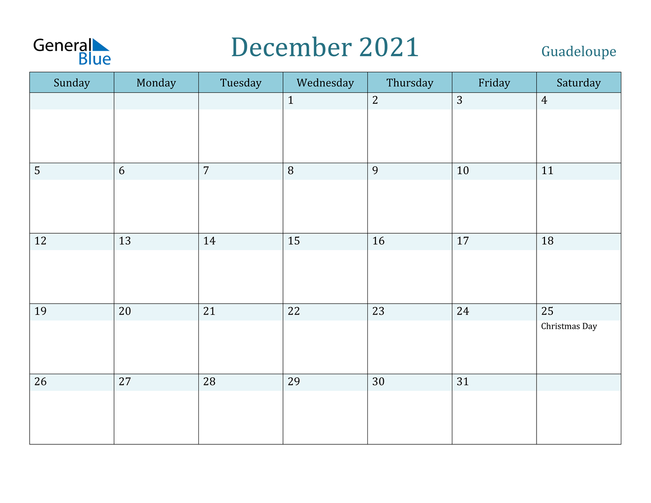 December 2021 Calendar - Guadeloupe