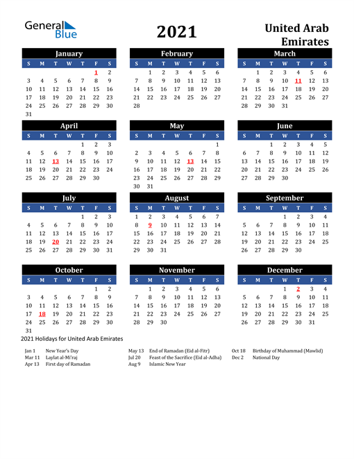 Image of United Arab Emirates 2021 Calendar in Blue and Black with Holidays