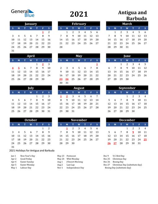 2021 Antigua and Barbuda Free Calendar