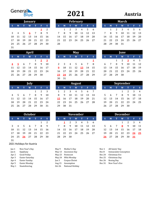 Image of Austria 2021 Calendar in Blue and Black with Holidays