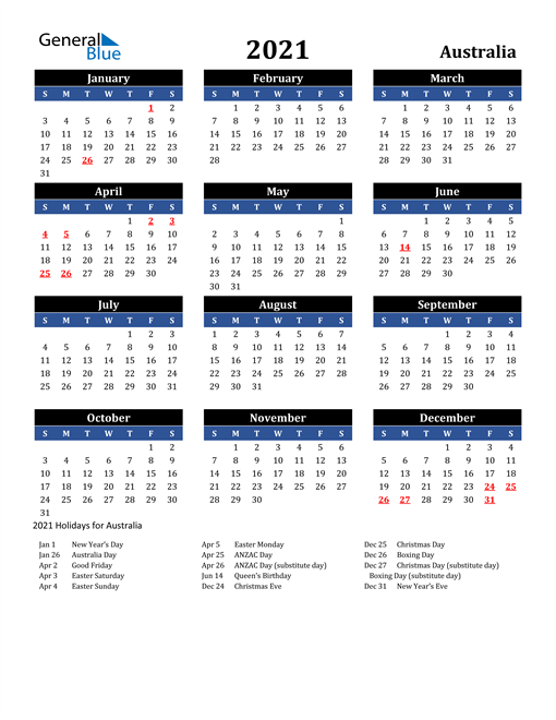 Image of Australia 2021 Calendar in Blue and Black with Holidays