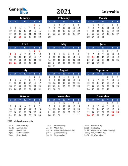 2021 Calendar - Australia with Holidays
