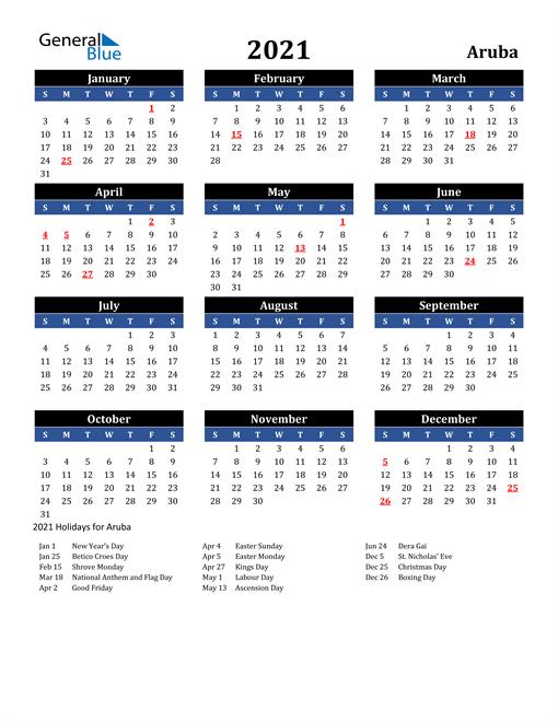 2021 Aruba Free Calendar
