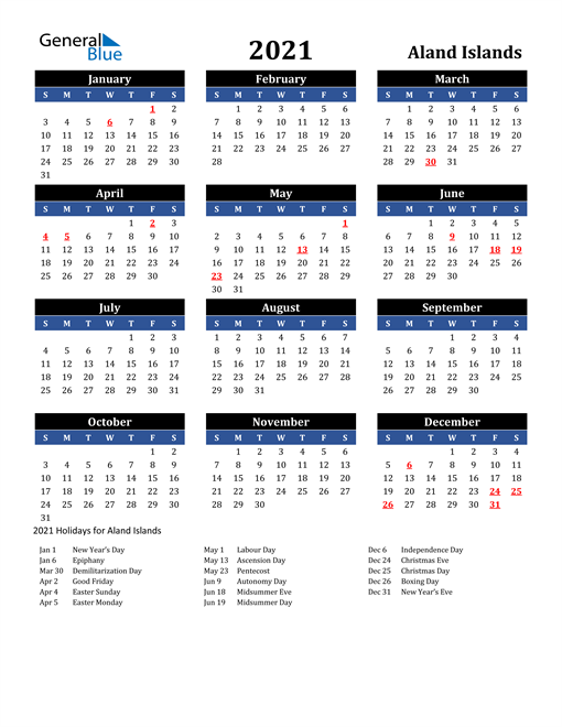 Image of Aland Islands 2021 Calendar in Blue and Black with Holidays