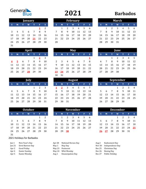 2021 Barbados Free Calendar