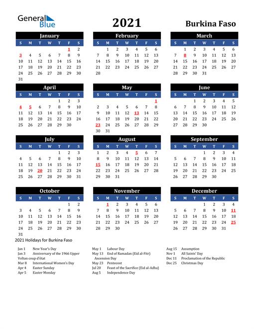 2021 Burkina Faso Free Calendar