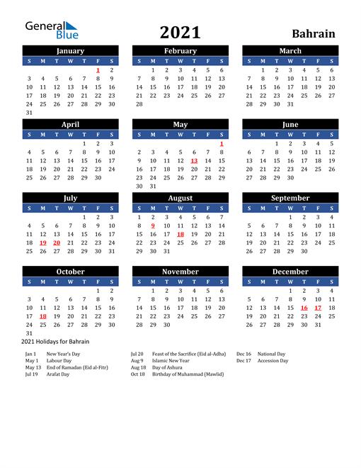 2021 Bahrain Free Calendar