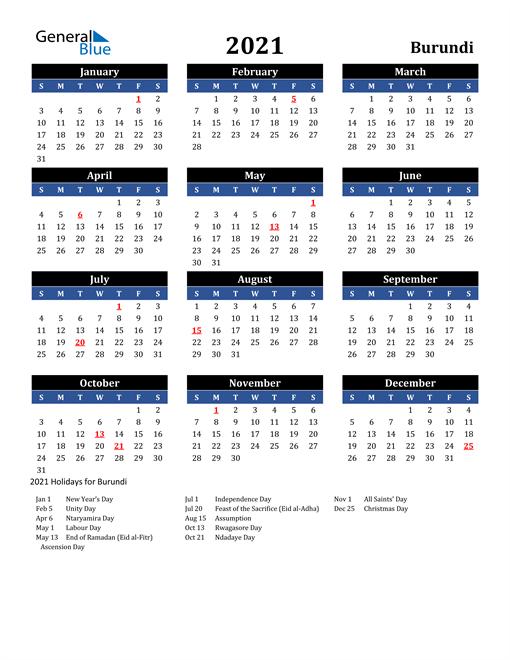 2021 Burundi Free Calendar