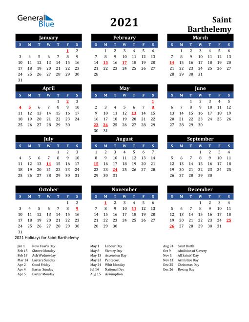 2021 Saint Barthelemy Free Calendar
