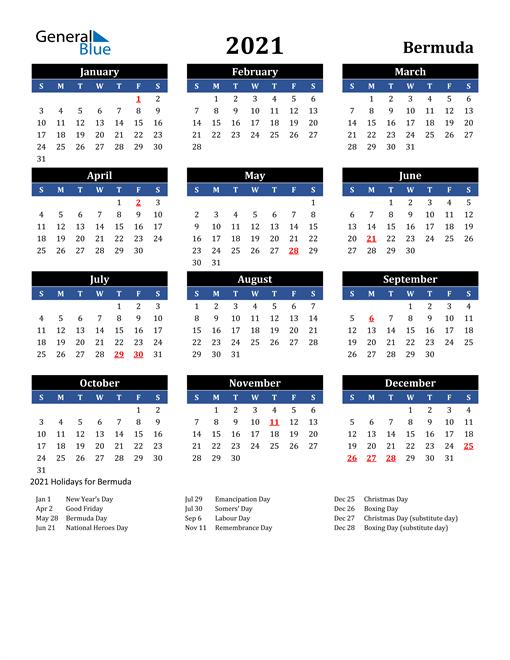 2021 Bermuda Free Calendar